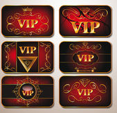 Elegant gold VIP cards on the red background — Stock Vector