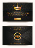 Elegant vintage vip invitation envelope with gold floral elements — Stock Vector