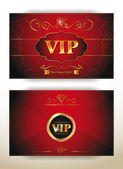 Elegant VIP invitation envelope with gold floral elements on the red background — ストックベクタ