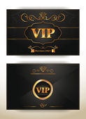 Elegant VIP invitation envelope with gold floral elements — Stock Vector