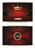 Elegant vintage vip invitation envelope with gold floral elements on the red background — Stockvector