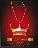 Vintage background with gold crown shaped pendant with diamonds on the red background — Stockvector