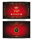 Elegant invitation VIP envelope with gold design elements on the red background — Stok Vektör