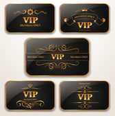 Set of elegant gold Vip cards — Vector de stock
