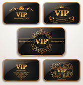 Set of gold vintage Vip cards — Stock Vector