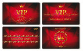Set of elegant vip gold cards with the red background — Stock Vector