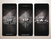 Set of VIP cards with floral design elements — Stock Vector