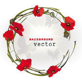 Red poppy flowers frame on white background. Vector illustration — Stock Vector