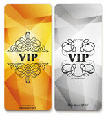 Vip cards with floral design elements — Stock Vector