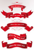 Set of red holiday ribbons — Stock Vector