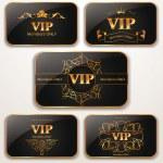 Set of elegant gold Vip cards — Stock Vector