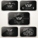 Set of elegant platinum Vip cards — Stock Vector