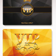 Set of gold Vip cards with the abstract background and floral elements — Stock Vector #46316267
