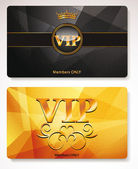 Set of gold Vip cards with the abstract background and floral elements — Vector de stock