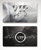 Set of platinum Vip cards with floral design elements — Stock Vector