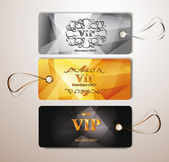 Vip tags with the floral design elements — Stock Vector