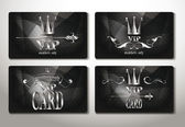 Set of platinum black vip cards with abstract background — Stock Vector