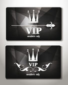 Black vip cards with abstract background — Stock Vector