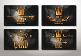 Set of black gold vip cards with abstract background — Stock Vector