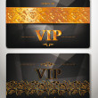 ELEGANT VIP CARDS WITH GOLD FLORAL DESIGN ELEMENTS — Stock Vector #49067401