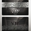 ELEGANT VIP CARDS WITH PLATINUM  FLORAL DESIGN ELEMENTS — Stock Vector #49067407