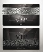 ELEGANT VIP CARDS WITH PLATINUM  FLORAL DESIGN ELEMENTS — Stock Vector