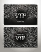 PLATINUM CARDS WITH FLORAL DESIGN ELEMENTS — Stock Vector