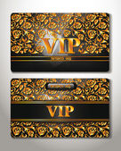 GOLD CARDS WITH FLORAL DESIGN — Stock Vector