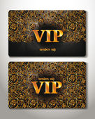 GOLD CARDS WITH FLORAL DESIGN ELEMENTS — Stock Vector