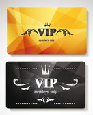Set of gold vip cards with abstract background with floral elements — Stock Vector