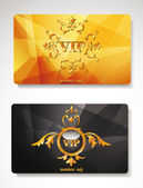 Set of gold vip cards with abstract background — Stock Vector