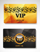 Set of gold vip cards  with floral elements — Stock Vector