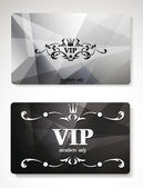 Set of silver vip cards with abstract background — Stock Vector