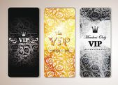SET OF VIP BANNERS WITH FLORAL DESIGN ELEMENTS — Stock Vector