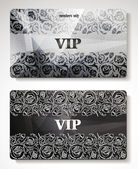 SET OF VIP CARDS WITH PLATINUM FLORAL DESIGN ELEMENTS — Stock Vector