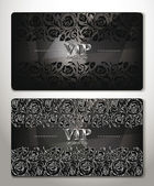 VINTAGE SILVER CARDS WITH  FLORAL DESIGN ELEMENTS — Stock Vector