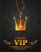 VIP background with gold crown shaped pendant with diamonds — Stock Vector