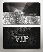 VIP CARDS WITH PLATINUM FLORAL DESIGN ELEMENTS — Stock Vector