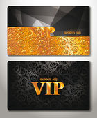 VIP CARDS WITH GOLD FLORAL DESIGN ELEMENTS — Stock Vector