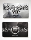 Set of silver vip cards  with floral elements — Stock Vector