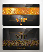 ELEGANT VIP CARDS WITH GOLD FLORAL DESIGN ELEMENTS — Stock Vector