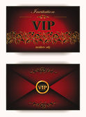 Elegant vintage vip invitation envelope with floral elements on the red background — Stock Vector