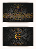 Elegant vintage vip invitation envelope with floral elements — Stock Vector