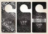Set of silver VIP door tags — Stock Vector
