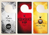 Set of VIP door tags with floral design elements — Stock Vector