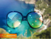 Summertime blur background with sunglasses — Stock Vector