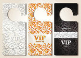 Set of gold VIP door tags with floral design elements — Stock Vector