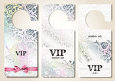 Set of pearl VIP door tags with floral design elements — Stock Vector