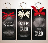 Set of gift cards with abstract background and silk ribbons — Stock vektor