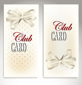 Set of VIP CLUB cards with beige background and silk ribbon — Stock Vector